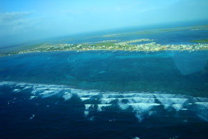Aerial View of Ambergris Caye and Barrier Reef